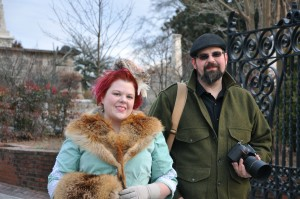 Gretchen Jacobsen enjoys creating historical costumes and Brownlee Currey enjoys taking her photo in settings including Oakland Cemetery. Credit: Donita Pendered