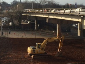Earth movers have started working, in recent weeks, on an apparent roadway beneath the MLK Drive viaduct. This work is being done near at least one of the parcels Atlanta has been asked to abandon. Credit: David Pendered