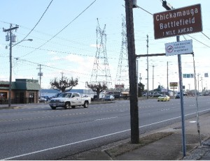 LaFayette Road, the gateway from Fort Oglethorpe to the Chickamauga Battlefield, will be improved by the burial of power lines, installation of sidewalks and bicycle lanes, landscaped median and streetlights, according to the Georgia Department of Community Affairs. Credit: timesfreepress.com