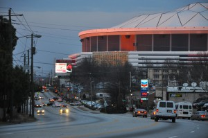 The Falcons seek to revamp this intersection of Northside Drive and Martin Luther King Jr. Drive in order to provide VIP parking at the new stadium. The Georgia Dome is to be demolished. Credit: Donita Pendered