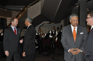 Fulton County Commissioner Robb Pitts (second from right) announced his candidacy for Fulton County chairman's post at an event after the inauguration. Invest Atlanta's president/CEO Brian McGowan (left) chats before the inauguration. Credit: Donita Pendered