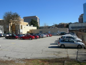 A view of one of the Center's two asphalt parking lots that surround the former Spring Street school - once our playgrounds
