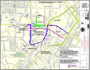 Click on the image for a larger version of one proposal for new routes around the new Falcons stadium.