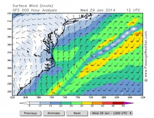 This weather map shows the strong northerly winds that have affected shipping along the east coast and Savannah. Credit: passageweather.com