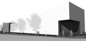 Expansion of the Center for Puppetry Arts along Spring Street that will block view of Spring Street Elementary School (Renderings from the Center for Puppetry Arts)