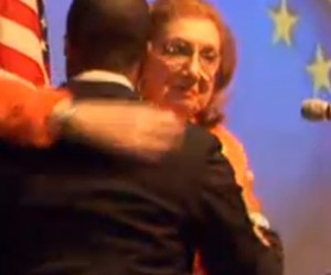 Former DeKalb CEO Liane Levetan embraced interim CEO Lee May after she introduced him at the State of the County address.