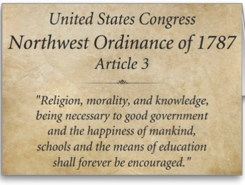 The Northwest Ordinance of 1787 provided for free public schools while prohibiting slavery in the Northwest Territory.