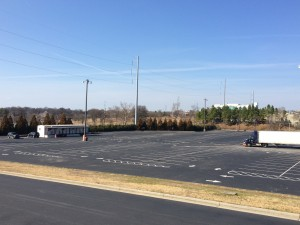 The former Herndon Homes housing community will become surface parking for the Falcons stadium. The marshaling yard is in the foreground and Herndon Homes stretches to the north. Credit: David Pendered