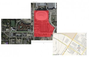 """This """"Frankenmap"""" links the PB plan (left) with the stadium site (center, Georgia World Congress Center Authority), and MLK Drive and Mitchell Street near the stadium. Credit: David Pendered, with materials provided by the three entities"""