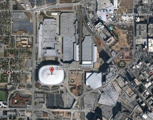 The Falcons stadium is to be served by surface parking lots, according to the bond validation petition. Credit: Google Earth