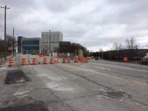 To accommodate the future Falcons stadium, Martin Luther King Drive is barricaded and vehicles are instructed to ver right onto Mitchell Street. This view is from near Northside Drive looking toward downtown Atlanta. Credit: David Pendered