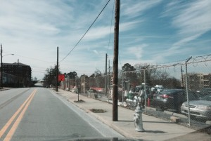 The detour for Martin Luther King Jr. Drive now includes this section of Nelson Street, in Castleberry Hill. Credit: David Pendered