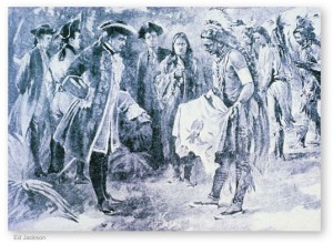 James Oglethorpe with Yamacraw chief Tomochichi, who provided invaluable assistance to the new colony. Courtesy of GeorgiaInfo.org