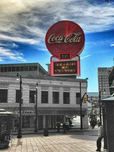 The Coca-Cola sign above the Olympia building is a landmark in Downtown Atlanta.