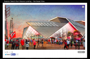A lively view of how the new stadium would look from Falcons landing