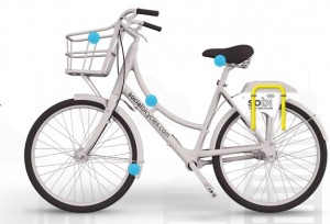A SoBi bike comes equiped with fenders, front basket capable of handling a 20-pound payload, step-over frame, and adjustable, non-removable seat to accomodate riders ranging in height from 4 feet, 11 inches to 6 feet, 6 inches. Credit: socialbicycles.com