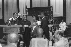 Robert Benham being sworn in as the first African American to the Supreme Court of Georgia in 1989. Benham urged Susie Wheeler to restore the Noble Hill School. Credit: Daily Report