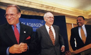 Then President Carl Patton, J. Mack Robinson and then Dean Sidney Harris at the naming announcement press conference. (Photo credit: GSU Robinson College of Business)