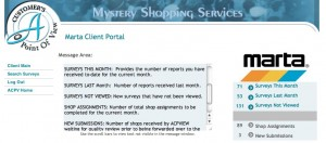 Mystery riders can submit their reports on a website that indicates when MARTA reviews the reports. Click on the image for larger view. Credit: acpview.com/Marta2013/ClientPortal.asp