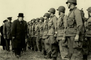 """Winston Churchill with Easy Company (aka """"Band of Brothers"""") of the 506th Infantry Regiment, 101st Airborne Division. Credit: Military History.org"""