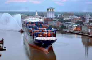 A fire boat sprays water in 2010 to celebrate the arrival of the largest freighter ever to arrive at the port of Savannah. Credit: U.S. Army Corps of Engineers