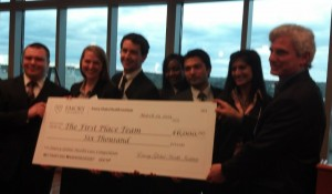 The image is blurred but still illustrates the team from the University of Texas Southwestern Medical Center, which won the Emory Global Health Case Competition. Credit: Emory University