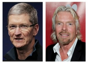 """To promote the next generation of sustainability, the message some CEOs are sending to shareholders is: """"Get out of this stock,"""" Apple CEO Tim Cook (left); and, """"Get out of our way,"""" Virgin CEO Richard Branson (right). Credit: David Pendered"""