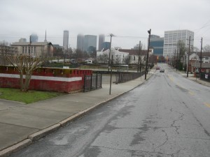 View of Mitchell Street looking east towards Friendship Church and Northside Drive
