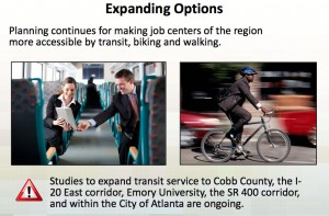 Bicycling, walking and transit are supported in the region's proposed transportation plan. The five-year plan earmarks 16 percent to transit. Credit: ARC