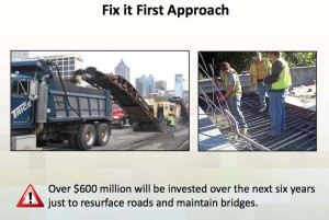 The proposed five-year regional transportation budget emphasizes maintenance of existing roadways, as opposed to construction of new roadways. Credit: ARC
