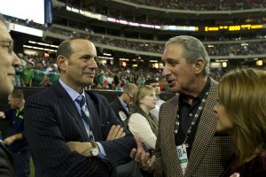 MLS Commissioner Don Garber with Arthur Blank at sold-out Nigeria-Mexico soccer match at the Georgia Dome (Photo Credit: Perry McIntyre)