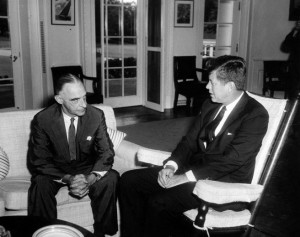 The President's Special Representative in Berlin, Gen. Lucius Clay (left), meets with John F. Kennedy in 1961. Credit: John F. Kennedy Presidential Museum and Library