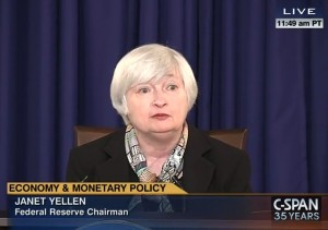 Janet Yellen at her first press conference as chair of the Federal Reserve