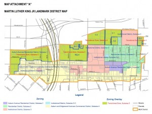Click on the map to see a larger version of the proposed zoning uses envisioned in the proposed Martin Luther King Jr. Landmark District. Credit: http://www.atlantadowntown.com/mlkzoning