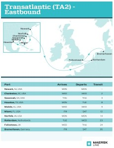 Click on the image to see a larger version of just one trade route that calls on Savannah. Credit: Maersk Line