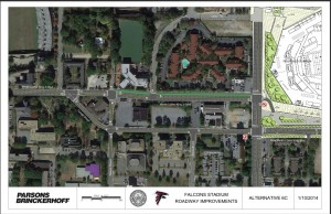 Current design shows how Martin Luther King Jr. Drive would continue on Mitchell Street rather than reconnecting with MLK at Northside Drive. (Click to enlarge)