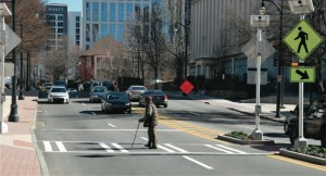 The cover photo on PEDS new report illustrates one aspect of the pedestrian safety issue in metro Atlanta. Credit: PEDS