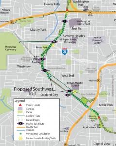 Map of the Southwest Corridor Trail of the Atlanta BeltLine