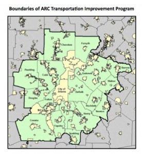 The ARC is slated to approve a spending plan to improve transportation in the 18 counties shaded green and their incorporated cities. Credit: ARC