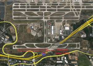 The planned solar farm at Atlanta's airport is to be located on two parcels along the south side of the airport property. Credit: Google Earth, David Pendered