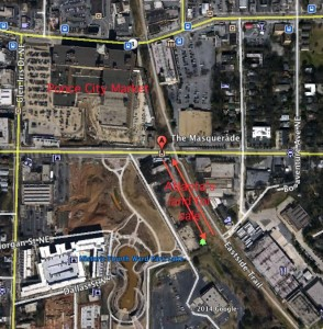 Atlanta is selling 1.1 acres located in the BeltLine corridor. The land is across North Avenue from Ponce City Market, between the Eastside Trail and Old Fourth Ward Park. Credit: David Pendered, GoogleEarth