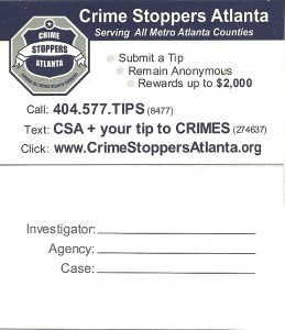 """Atlanta police distribute cards advising of an anonymous hotline for callers who fear being identified as """"snitches."""" Credit: APD"""