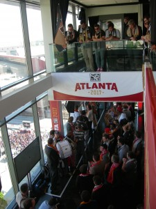 Crowds gather at Ventanas in downtown Atlanta waiting for MLS announcement (Photos by Maria Saporta)