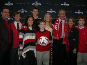 Arthur Blank and his family at announcement that he's bring MLS team to Atlanta
