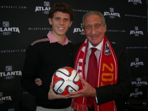 Joshua and Arthur Blank at announcement of new Atlanta soccer team