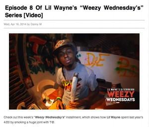 Lil Wayne's website promotes a video of his celebration of cannabis culture. Credit: lilwaynehq.com