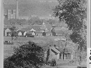 Mill village and King Mill (background) in Augusta, circa 1915. Credit: Georgia Archives, Vanishing Georgia Collection