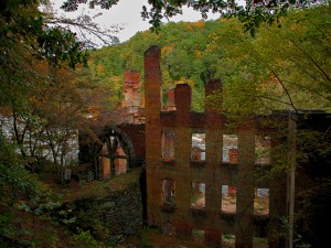 Ruins of the New Manchester Mill, located in present-day Sweetwater Creek State Park. The mill was destroyed by Sherman's troops during the Civil War. Credit: StateParks.com