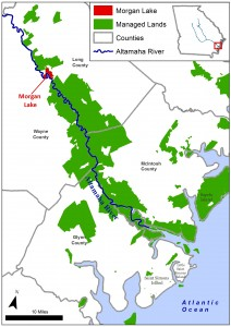 Map of the Altamaha River showing protected land
