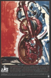 """""""Bopping at Birdland,"""" the signature poster for the 2014 Atlanta Jazz Festival, was created by Romare Howard Bearden and used with permission of the Bearden Foundation. Credit: atlanta festivals.com"""
